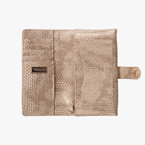 Jane Wristlet Tech Wallet - Havana Havana Jane Wristlet Tech Wallet in Sand bottom view in  in Color:Sand in  in Description:Opened