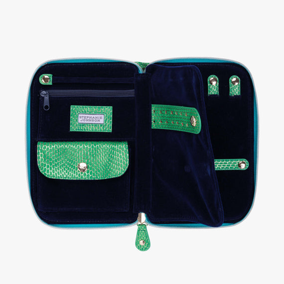 Julianna Jewelry Case - Havana Havana Julianna folding Jewelry Case in Green open view in  in Color:Green in  in Description:Open Detail