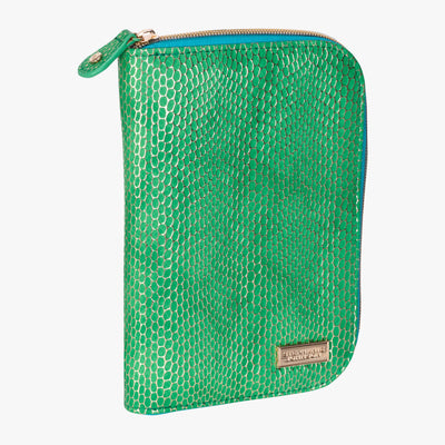 Havana Julianna folding Jewelry Case in Green angle view~~Color:Green~~Description:Angled View