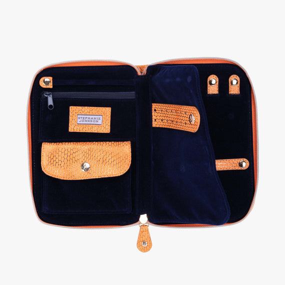 Julianna Jewelry Case - Havana Havana Julianna folding Jewelry Case in Orange open view in  in Color:Orange in  in Description:Open Detail