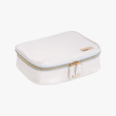 Havana Sherine Large Jewelry Case in White Quarterfront View~~Color:White~~Description:Front