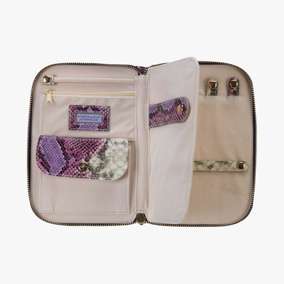 Julianna Jewelry Case - Java Java Julianna folding Jewelry Case in Plum secondary open View in  in Color:Plum in  in Description:Open Detail