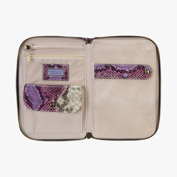 Julianna Jewelry Case - Java Java Julianna folding Jewelry Case in Plum open View in  in Color:Plum in  in Description:Opened