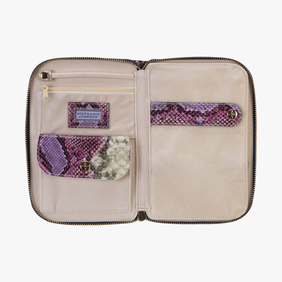 Julianna Jewelry Case Julianna folding Jewelry Case in Java - Plum open View in  in Color:Java - Plum in  in Description:Opened