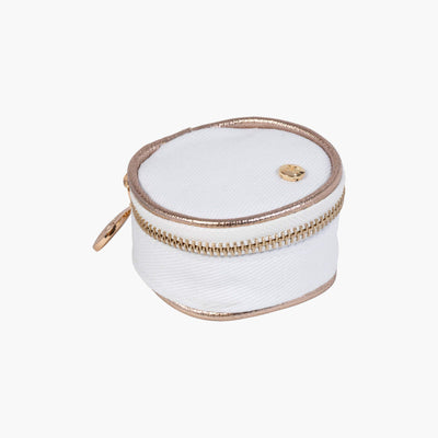Angie Small Round Accessories Case in Key West - Champagne Quarterfront View~~Color:Key West - Champagne~~Description:Front