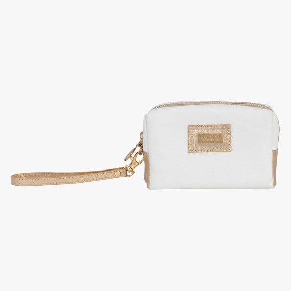 Iris Small Cosmetic Bag - Key West Key West Iris Small Cosmetic Bag in Champagne Open View in  in Color:Champagne in  in Description:Front