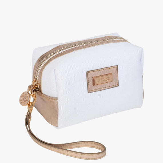 Iris Small Cosmetic Bag - Key West Key West Iris Small Cosmetic Bag in Champagne Quarterfront View in  in Color:Champagne in  in Description:Angled View