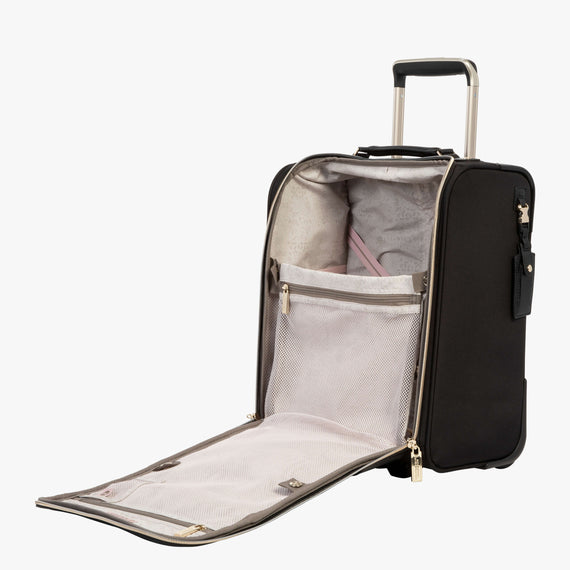 Small Carry-On Manhattan Under-Seat Carry-On in Black Open View in  in Color:Black in  in Description:Opened