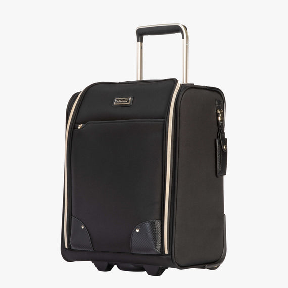 Small Carry-On Manhattan Under-Seat Carry-On in Black Quarterfront View in  in Color:Black in  in Description:Angled View