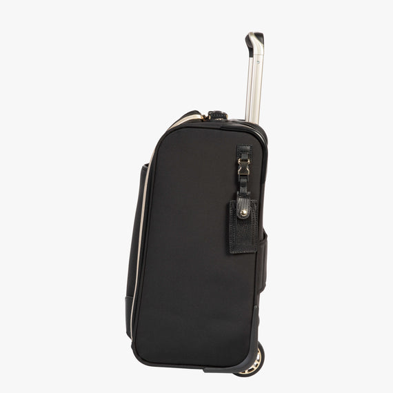 Small Carry-On Manhattan Under-Seat Carry-On in Black Side View in  in Color:Black in  in Description:Side
