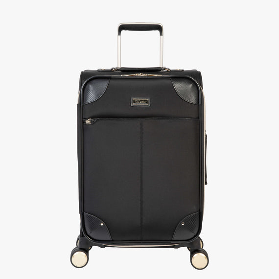 Carry-On Manhattan 21-Inch Carry-On Suitcase in Black Front View in  in Color:Black in  in Description:Front