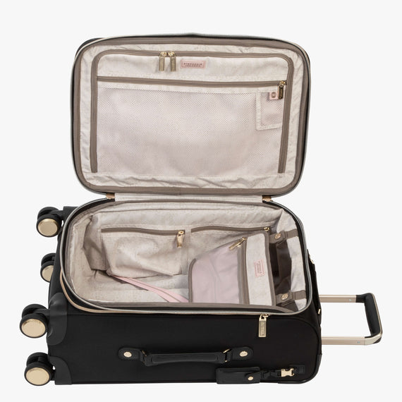 Carry-On Manhattan 21-Inch Carry-On Suitcase in Black Open View in  in Color:Black in  in Description:Opened