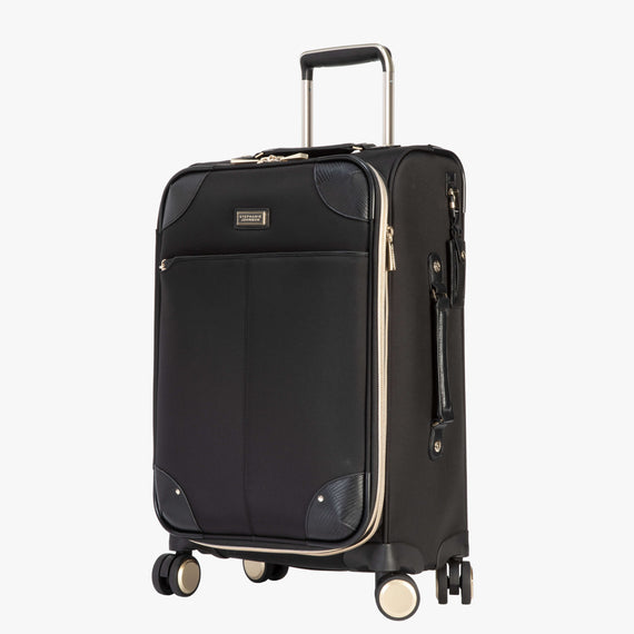 Carry-On Manhattan 21-Inch Carry-On Suitcase in Black Quarterfront View in  in Color:Black in  in Description:Angled View