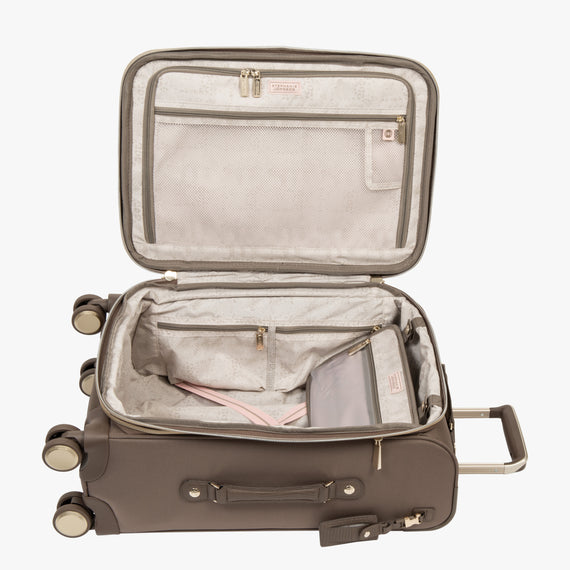 Carry-On Stephanie Johnson 21-Inch Carry-On Suitcase in Mocha in  in Color:Mocha in  in Description:Opened