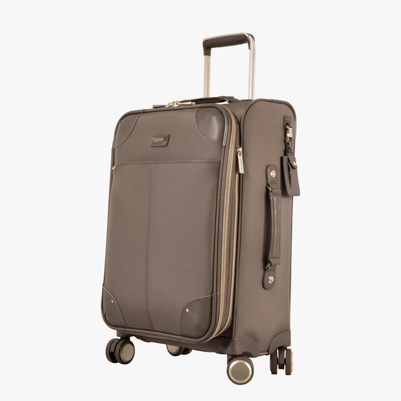 Carry-On Stephanie Johnson 21-Inch Carry-On Suitcase in Mocha in  in Color:Mocha in  in Description:Angled View