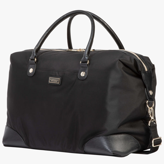 Weekender Duffel Manhattan Weekender Duffel in Black Quarterfront View in  in Color:Black in  in Description:Angled View