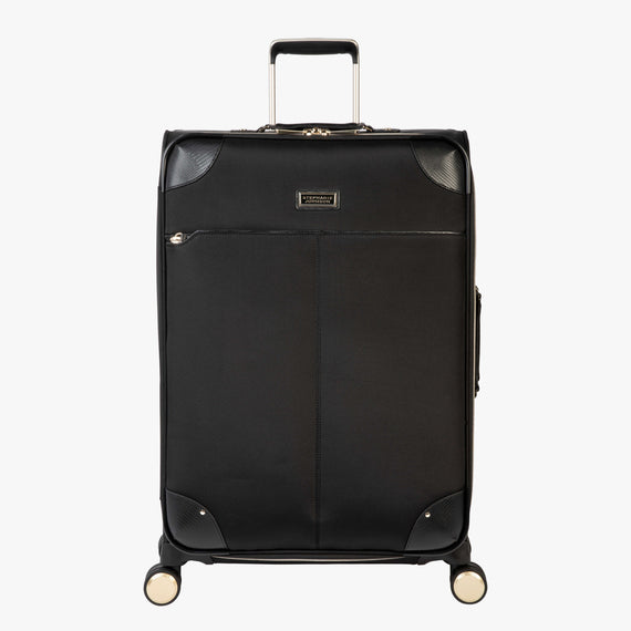 Medium Check-In Manhattan 26-Inch Check-In Suitcase in Black Front View in  in Color:Black in  in Description:Front