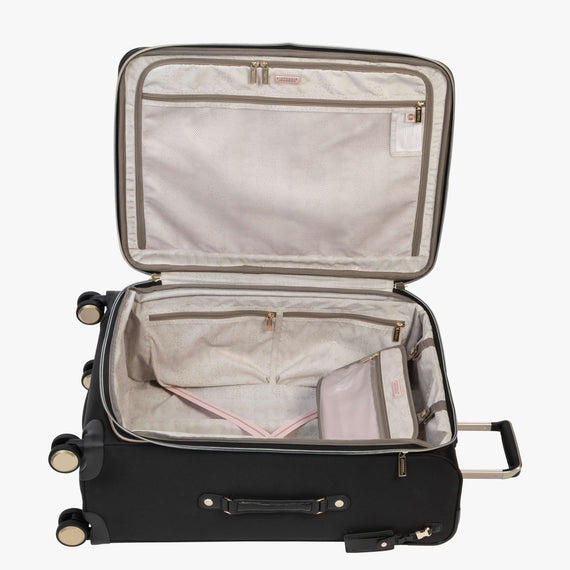 Medium Check-In Manhattan 26-Inch Check-In Suitcase in Black Open View in  in Color:Black in  in Description:Opened