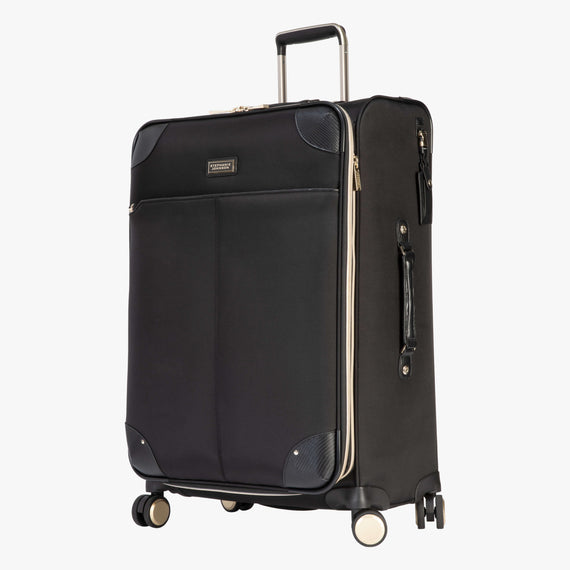 Medium Check-In Manhattan 26-Inch Check-In Suitcase in Black Quarterfront View in  in Color:Black in  in Description:Angled View