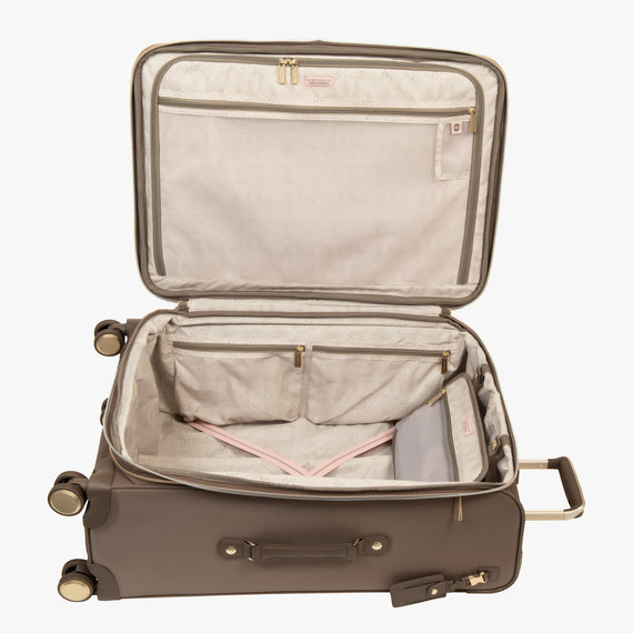 Medium Check-In Stephanie Johnson 26-Inch Check-In Suitcase in Mocha in  in Color:Mocha in  in Description:Opened