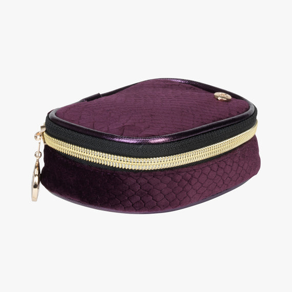 Steph Tiny Treasure Case - Marais Marais Steph Tiny Treasure Case in Plum Quarterfront View in  in Color:Plum in  in Description:Front