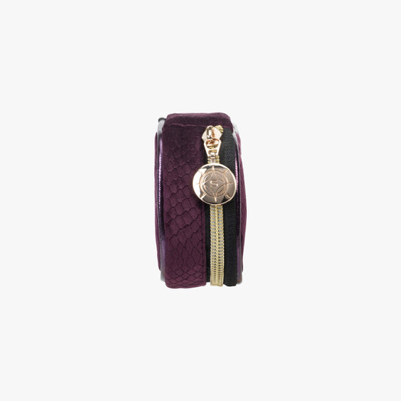 Steph Tiny Treasure Case - Marais Marais Steph Tiny Treasure Case in Plum side view in  in Color:Plum in  in Description:Side