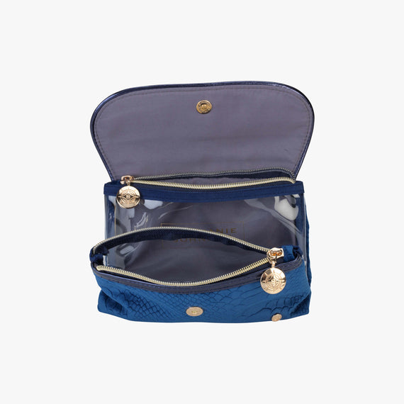 Katie Folding Cosmetic Bag - Marais Marais Katie Folding Cosmetic Bag in Blue top view in  in Color:Blue in  in Description:Open Detail