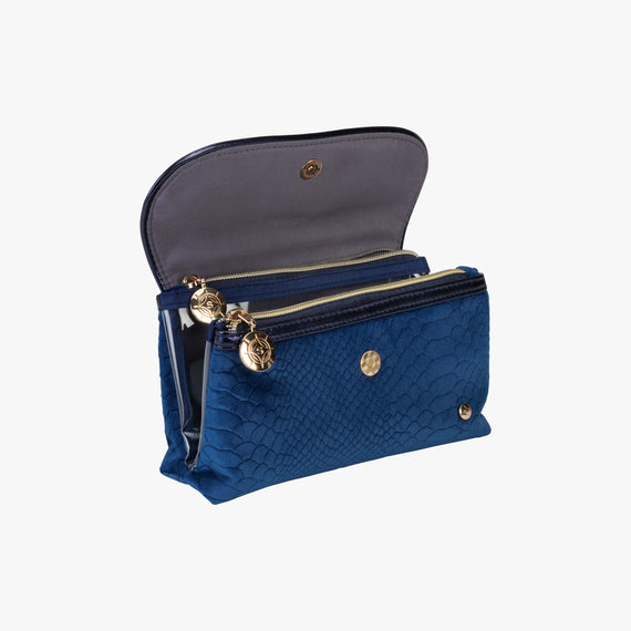 Katie Folding Cosmetic Bag - Marais Marais Katie Folding Cosmetic Bag in Blue open view in  in Color:Blue in  in Description:Opened