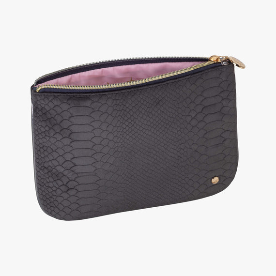 Large Flat Pouch - Marais Marais Large Flat Pouch in Mink angle view in  in Color:Mink in  in Description:Open Detail