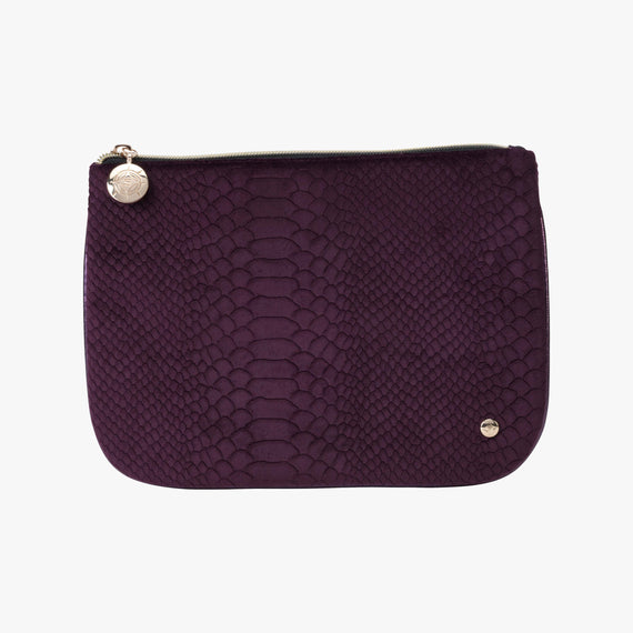 Large Flat Pouch - Marais Marais Large Flat Pouch in Plum main view in  in Color:Plum in  in Description:Front