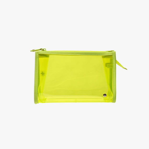 Medium Zip Cosmetic Case - Miami Miami Medium Zip Cosmetic Case in Neon Yellow main view in  in Color:Neon Yellow in  in Description:Front