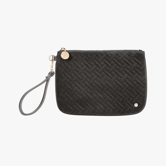 Large Flat Wristlet - Milan Milan Large Flat Wristlet in Black Front View in  in Color:Black in  in Description:Front