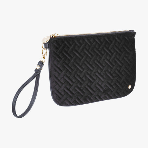 Large Flat Wristlet - Milan Milan Large Flat Wristlet in Black Quarterfront View in  in Color:Black in  in Description:Angled View