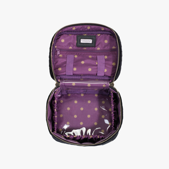 Louise Travel Case - Milan Milan Louise Travel Case in Black Secondary Open View in  in Color:Black in  in Description:Open Detail