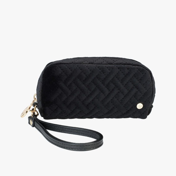 Mini Pouch Wristlet - Milan Milan Mini Pouch Wristlet in Black Front View in  in Color:Black in  in Description:Front