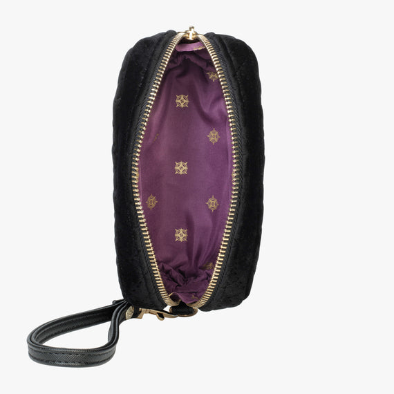 Mini Pouch Wristlet - Milan Milan Mini Pouch Wristlet in Black Open View in  in Color:Black in  in Description:Opened