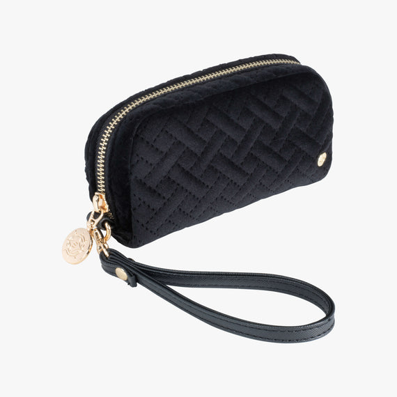Mini Pouch Wristlet - Milan Milan Mini Pouch Wristlet in Black Quarterfront View in  in Color:Black in  in Description:Angled View