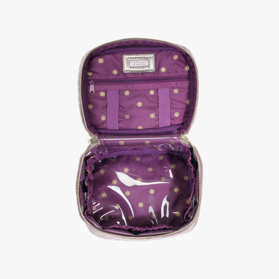 Louise Travel Case - Milan Milan Louise Travel Case in Dusty Plum Secondary Open View in  in Color:Dusty Plum in  in Description:Open Detail
