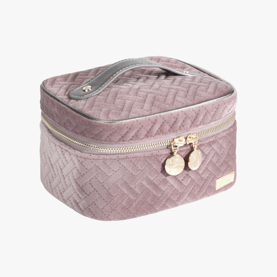 Louise Travel Case - Milan Milan Louise Travel Case in Dusty Plum Quarterfront View in  in Color:Dusty Plum in  in Description:Angled View