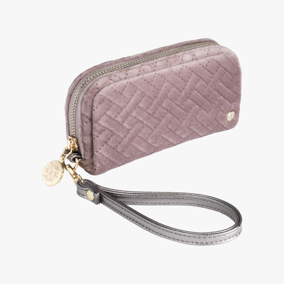 Mini Pouch Wristlet - Milan Milan Mini Pouch Wristlet in Dusty Plum Quarterfront View in  in Color:Dusty Plum in  in Description:Angled View