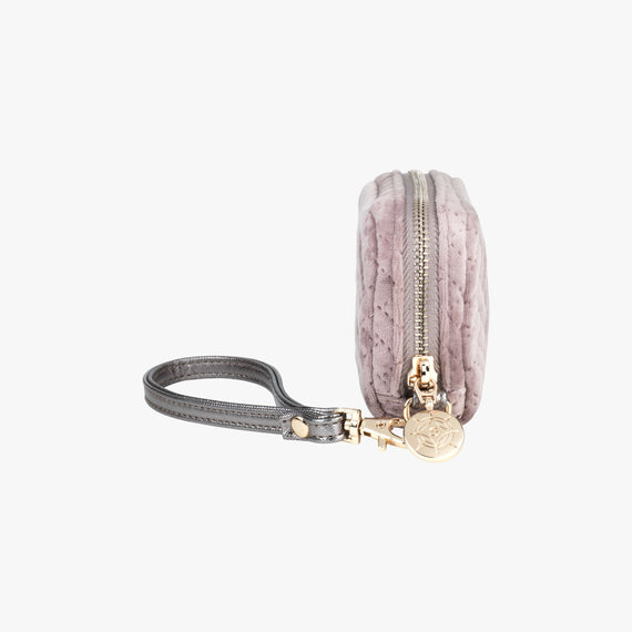 Mini Pouch Wristlet - Milan Milan Mini Pouch Wristlet in Dusty Plum Side View in  in Color:Dusty Plum in  in Description:Side