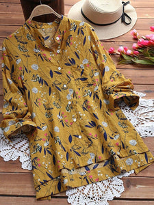Elegant Cotton Floral Plus Size Stand Collar Printed/Dyed Blouse