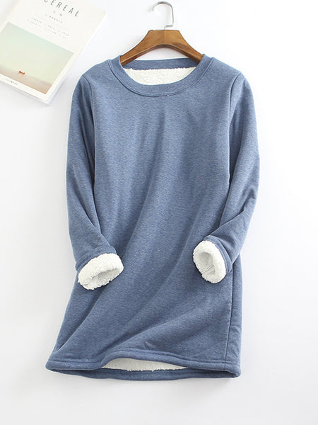 Casual Fleece-Blend Round Neck Solid Long Sweatshirt