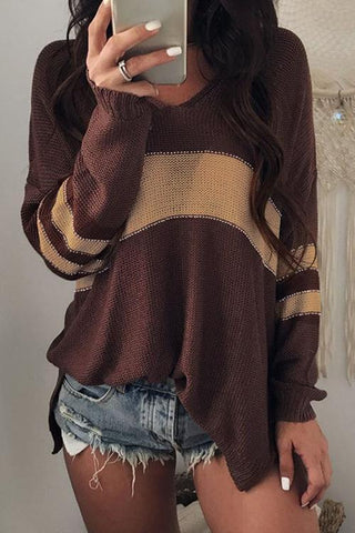 Casual Irregular Hems Patchwork Sweaters