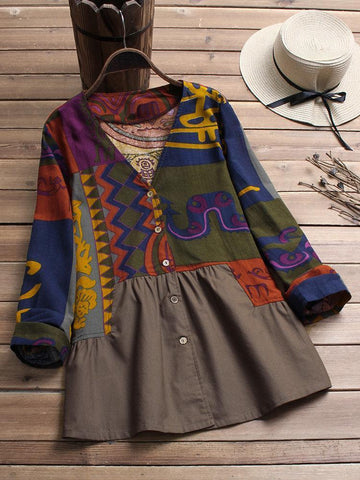 Vintage Abstract V-neck Buttoned Long Sleeve Shirt