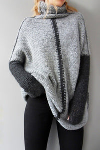 Basic Turtle Neck Patchwork Long Sleeves Sweaters