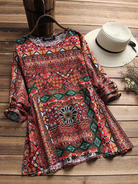 Casual Tribal Long Sleeve Printed Cotton Blouse