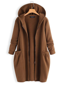 Solid Color Hooded Long Sleeve Casual Coat