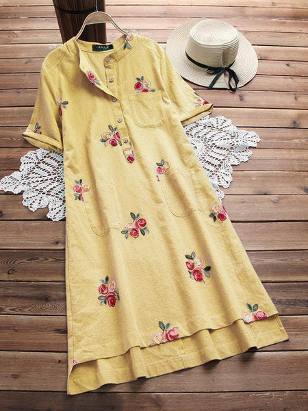 Irregular Floral Embroidered Pockets Short Sleeve Vintage Dresses