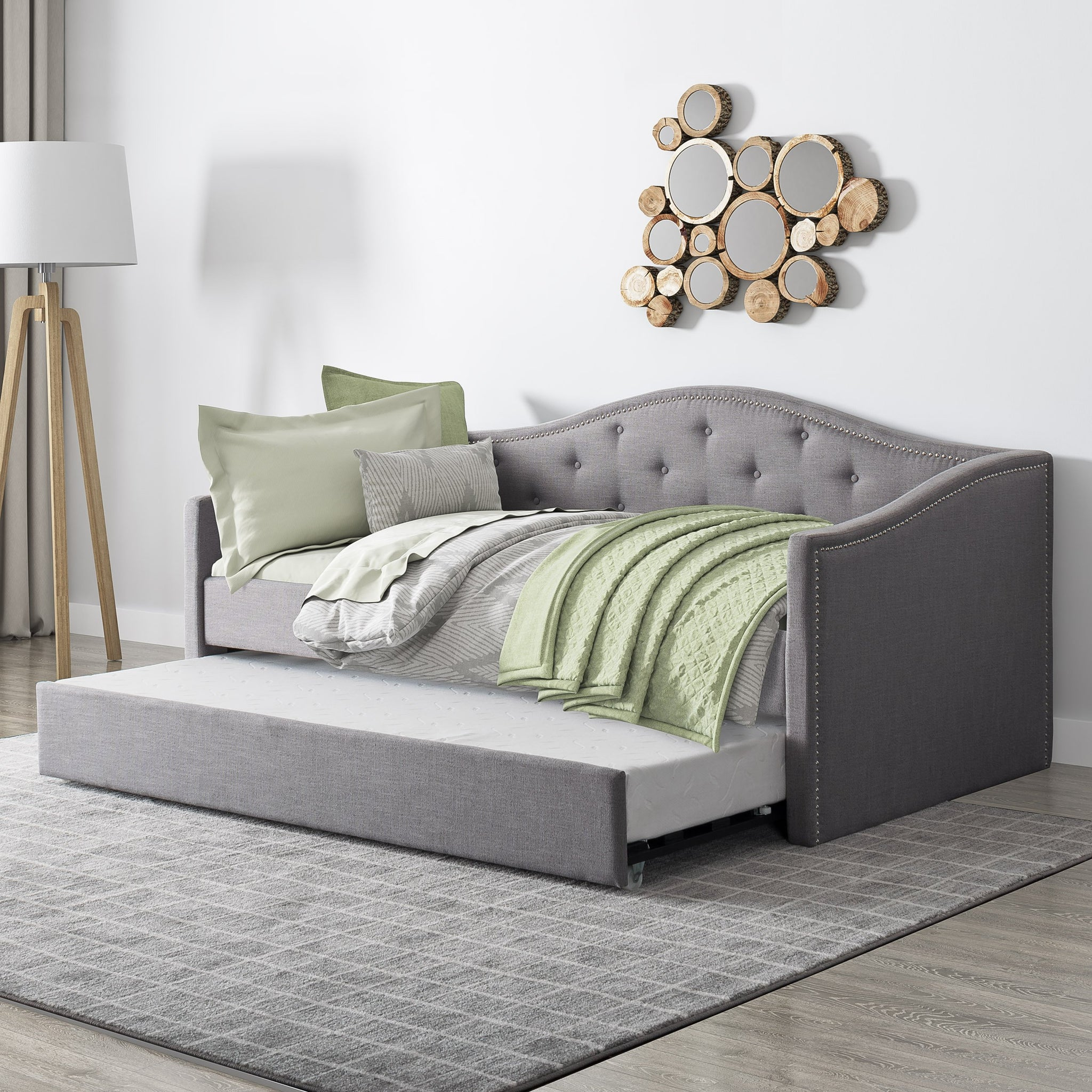 Fairfield Tufted Fabric Day Bed With Trundle Twin Single Corliving Furniture Us
